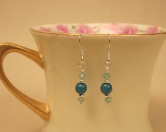 Dyed Apalite New Jade & Sterling Silver Beaded Earrings
