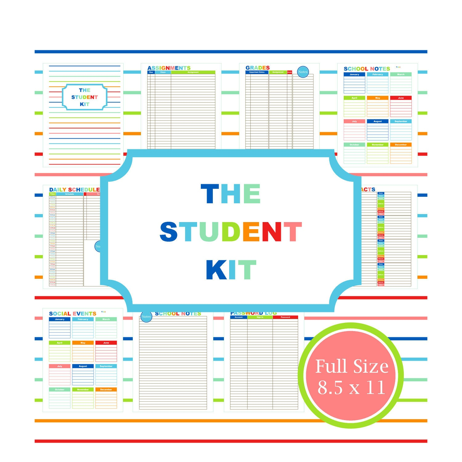 Printable Student Planner College Student by VLHamlinDesign