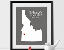 Personalized Wedding Map, Custom State Art, IDAHO Wall Art, Gay Marriage Gift, Anniversary Travel Map, Engagement Gift, Bridal Shower