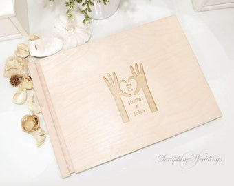 Customized Wedding Guest Book Memory Wooden Book