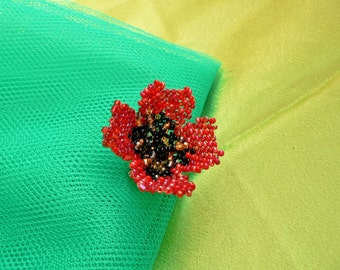 Red Poppy flower Brooch / handmade gift for lady/ handmade brooch/ one of a kind flower of coral color- SALE - see Shop for Coupon Codes..