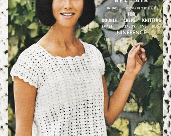 """Lister 1577 Vintage PDF Crochet Pattern, Ladies summer top, sizes 34/36"""" and 37/39"""" bust. Double Knitting"""