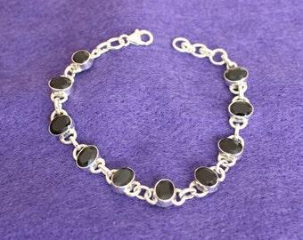 Black Oval Gemstone Bracelet