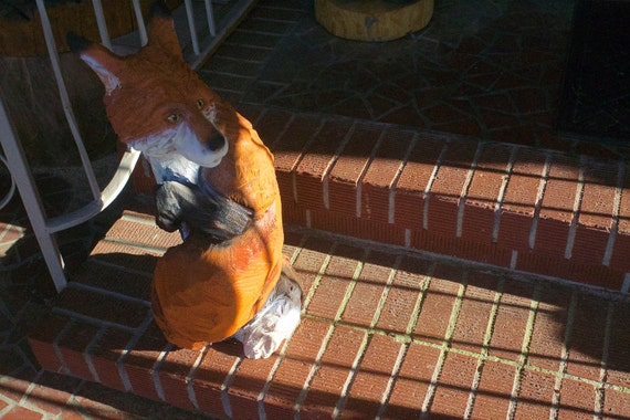 Twisted fox chainsaw carving by boonhillgallery on etsy