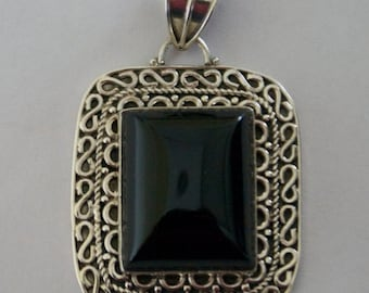 One of a Kind BLACK ONYX Silver Pendant