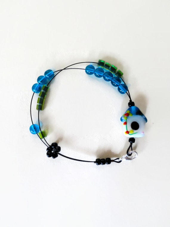 bird house - knitting row counter bracelet, abacus bracelet, knitters jewelry, knitting tool, knitting gift spring nature