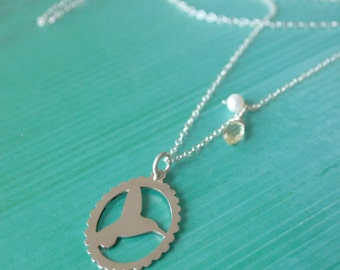Hand pierced sterling silver Humming bird silhouette long necklace