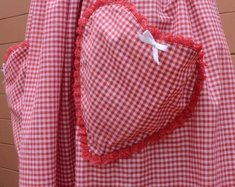 Vintage Red Gingham Sweetheart Skirt with Heart Pockets Retro Rockabilly