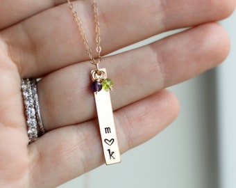 Gold Mom Necklace, Mother's Initial Necklace, Two Children, Custom Birthstones, Two Initials, Long Bar Necklace, 14k gold fill, Mom Gift