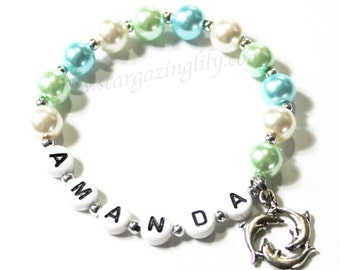 Dolphin Charm Bracelet Personalized with Name. You choose the pearl color. Dolphin Party Favor. Personalized Party Favor. Mermaid Party.
