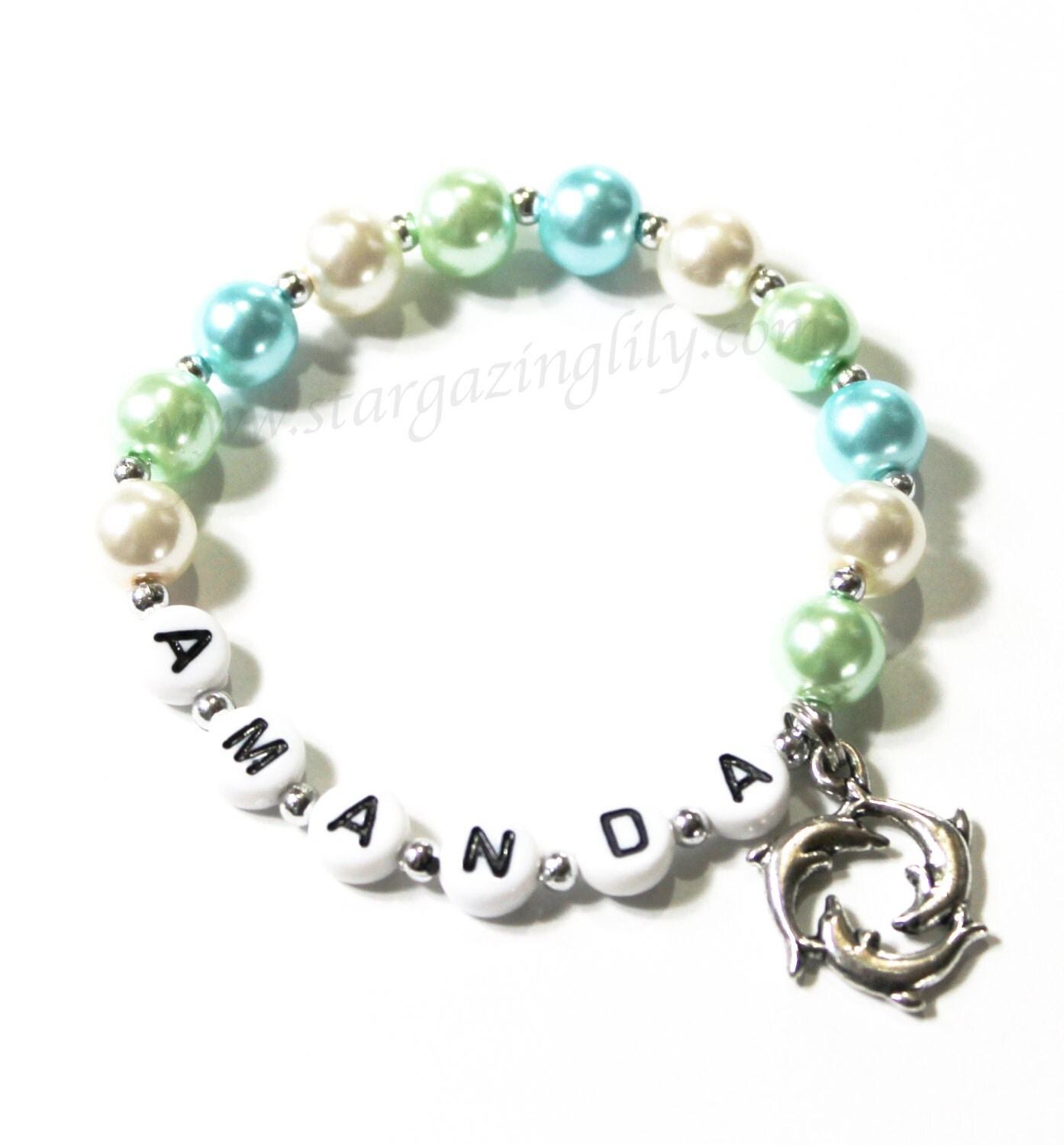 dolphin charm bracelet personalized with name you choose the