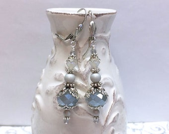 SIlver Ghost Beaded Earrings, Gorgeous Gray, Grey and Silver Beaded Crystal and Pearl Earrings.