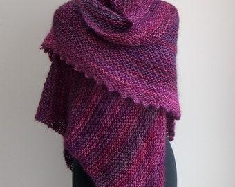 Hand Knit Asymmetrical Shoulder Shawl Scarf Cowl Wrap Head Scarf, Stylish Comfort Prayer Meditation, Ready to Ship FREE SHIPPING