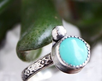 Turquoise Ring, Sleeping Beauty Arizona turquoise sterling silver ring, blue round stone ring