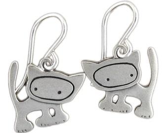 Cat Earrings - Sterling Silver Little Punk Cat Earrings