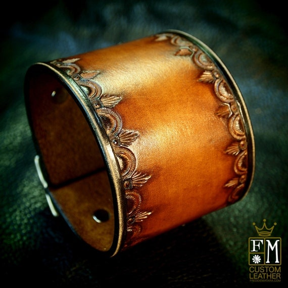 Leather cuff Bracelet Vintage style Brown stamped and tooled wristband Custom Made for YOU in NYC by Freddie Matara!