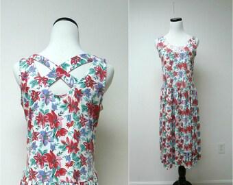 RED LILIES . poly cotton cross-back dress . medium
