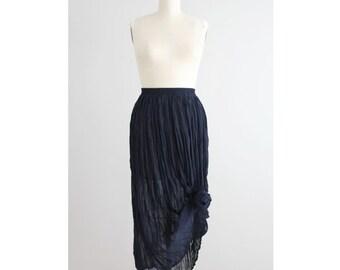 long sheer skirt / crinkle skirt / navy blue maxi skirt