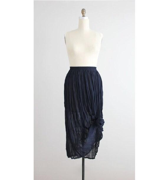 sheer skirt crinkle skirt navy blue maxi by