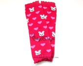 Valentine Pink HEARTS and Bunny No Ruffle Legwarmers. Newborn Baby Leg Warmers.Girls Cheer Knit Footless Socks Dance Ballet Soccer Dress Up