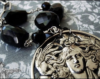 Mystical Art Nouveau Necklace with Vintage Silver Brooch Centerpiece and Large Hand-Faceted Antique Black Tourmaline - One of a Kind!