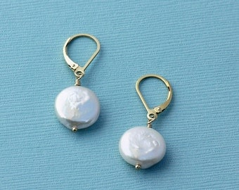 Large Coin Pearl Earrings Leverbacks, Gold, Rose Gold or Silver Leverbacks, Pearl Drop Earrings, Unique Gifts for Her