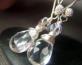 Rock Crystal Quartz Earrings, Sterling Silver, Natural Gemstone Crystal Clear, Wirewrapped Briolette Teardrop, Clear Earrings