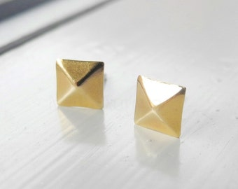 Square Pyramid Earring Studs,Golden Brass Pyramid Earrings,Sterling Silver Studs,Pyramid Jewelry,Geometric Hypoallergenic Studs (E229)