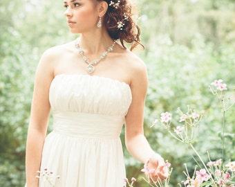 "Silver Crystal Bridal Necklace | Handmade Lace Wedding Statement Halo Headpiece | Woodland Spring Wedding ""Acanthus"""