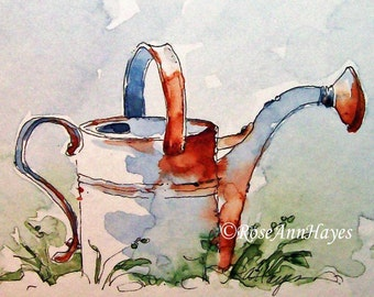 Vintage Watering Can Print of Watercolor Painting ACEO Garden Gift Art