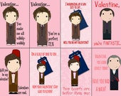 Doctor Who printable digital download Valentine Cards 9th 10th 11th 12th