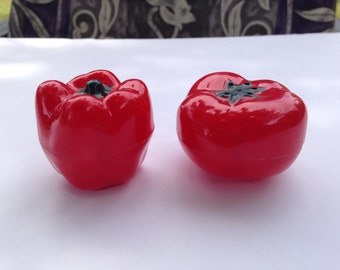 Pair of Vintage Red Plastic Tomato and Bell Pepper Salt and Pepper Shakers