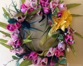 Wreath, door Hanger, Shades of Pink Tulips with bright Yellow Bow full 15 inch WREATH