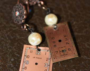 "Vintage Watch Face ""Hanging with Mr.Copper"" Assemblage Dangle Earrings"