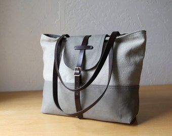 2-Tone Tote in Hemp and Gray Canvas with Leather Straps