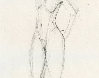 Original Charcoal Life Drawing of  sTanding Female Nude Figure