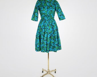 60s Blue and Green Flowered Full Skirt Dress by Candy Jrs. XS S