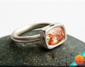 Artisan Fine Silver Ring, Champagne cubic zirconia, entirely hand crafted with PMC Silver, Brushed Silver, Size 8 US Women's, Slender Band