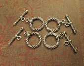 Silver Metal Toggle Clasp, Silver Metal Rope Design, 2 Piece Clasp, 24x18mm, QTY 5 Sets bm49