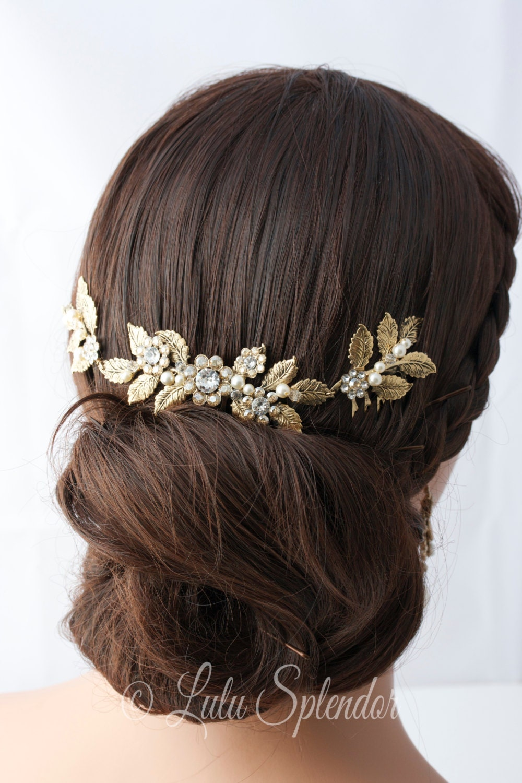 Rose gold wedding hair accessories - Antique Gold Wedding Headpiece Leaf Head Piece Bridal Hair Comb Swarovski Golden Shadow Crystal Leaf Hair Vine Bridal Hair Accessory Stacey