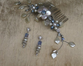 Bridal Headpiece and Earrings Light Blue Vintage Crystals and pearls on a silver comb