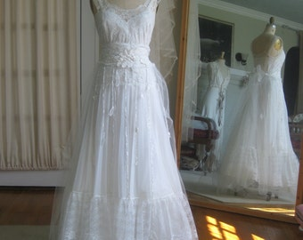 Tulle and Lace Vintage Fairy Wedding Bridal Gown