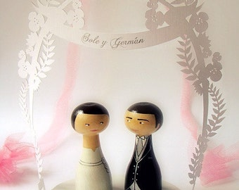 Wedding Cake Toppers - Personalized - Wooden art doll hand painted FREE SHIPPING