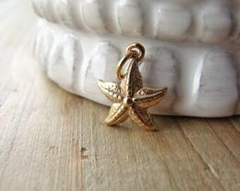 Gold Starfish Charm, Natural Bronze Charm, Gold Beach Charm, Seastar Charm, Gold Starfish, 13mm, (1), 10% off use code SAVE10