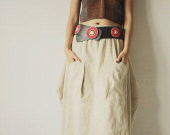 Bubble Skirt...Hemp mix cotton Natural avalible in size S-M,L-XL