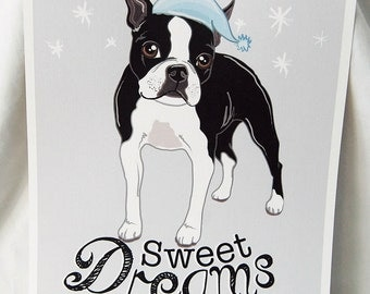 Sweet Dreams Boston Terrier - 8x10 Eco-friendly Print