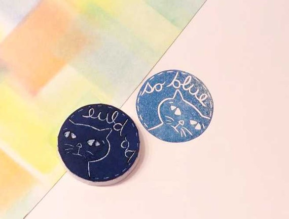 Cool Cats Rubber Stamp, One Cat That Is So Blue, Easy to Share Your Feelings,Teacher Stamp,Birthday Party Cat Stamp,Hand Carved Rubber Stamp