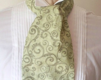 Man's Ascot, Formal Cravat, Casual Day Cravat, Trendy Fashion, Green Cotton Tie, Mad To Order