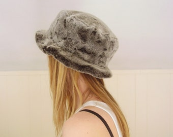 extra 25% off SALE ... Grey Faux Fur Vintage 80s Winter Bucket Hat - Made in Canada