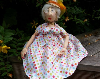 Jean - a Garden Circle Lady - lovely mature well-rounded character doll handmade